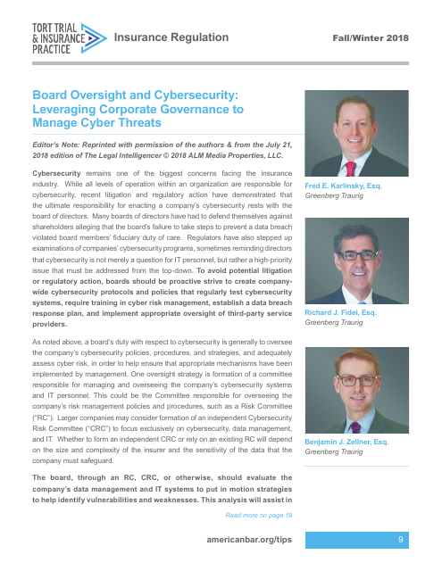 image from Board Oversight and Cybersecurity: Leveraging Corporate Governance to Manage Cyber Threats