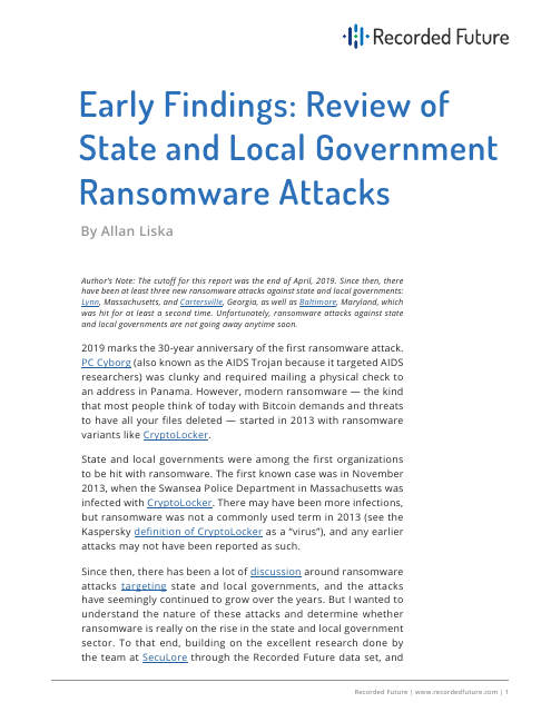 image from Early Findings: Review of State and Local Government Ransomware Attacks