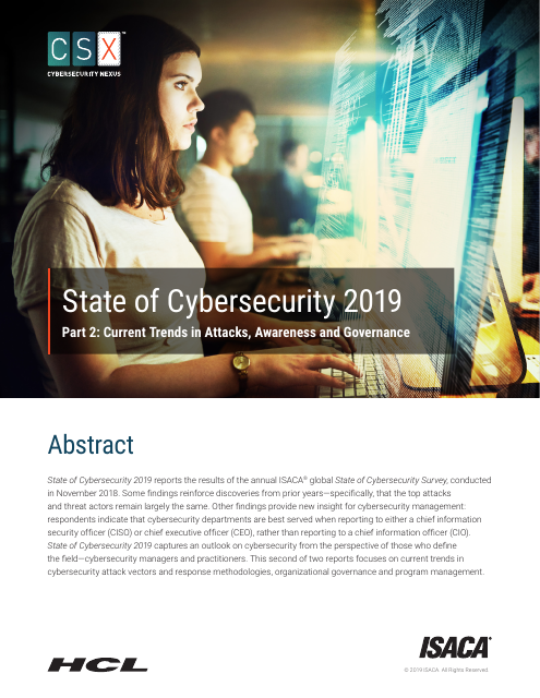 image from State of Cybersecurity 2019: Part 2: Current Trends in Attacks, Awareness and Governance