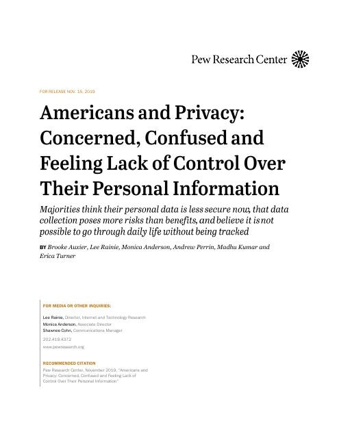 image from Americans and Privacy: Concerned, Confused and Feeling Lack of Control Over Their Personal Information