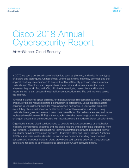 image from Cisco 2018 Annual Cyber Security Report: At-a-Glance - Cloud Security