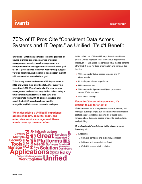 "image from 70% of IT Pros Cite ""Consistent Data Across Systems and IT Depts."" as Unified IT's #1 Benefit"