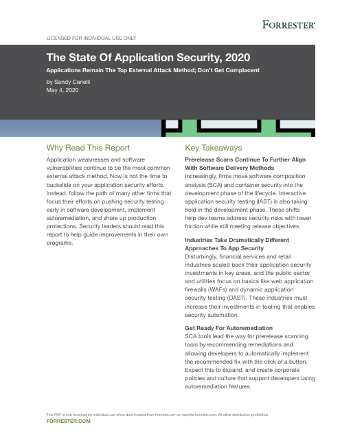 image from The State of Application Security, 2020