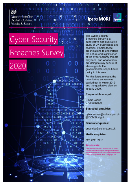 image from Cyber Security Breaches Survey 2020