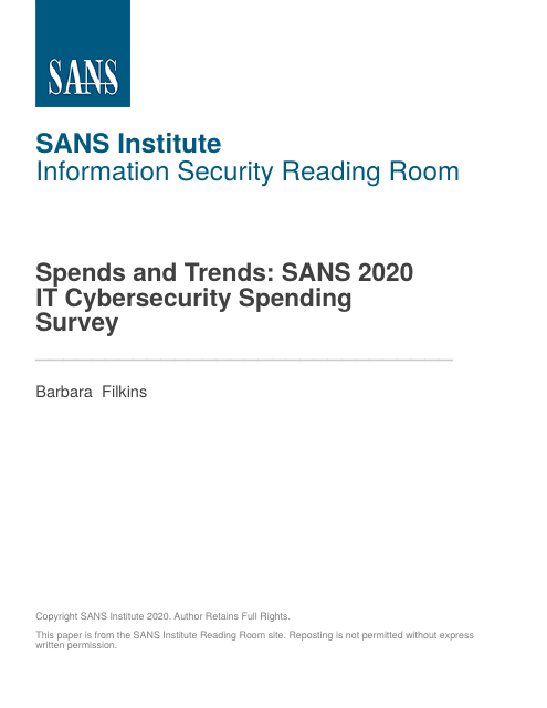 image from Spends and Trends: SANS 2020 IT Cybersecurity Spending Survey
