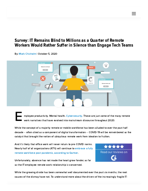 image from Survey: IT Remains Blind to Millions as a Quarter of Remote Workers Would Rather Suffer in Silence than Engage Tech Teams
